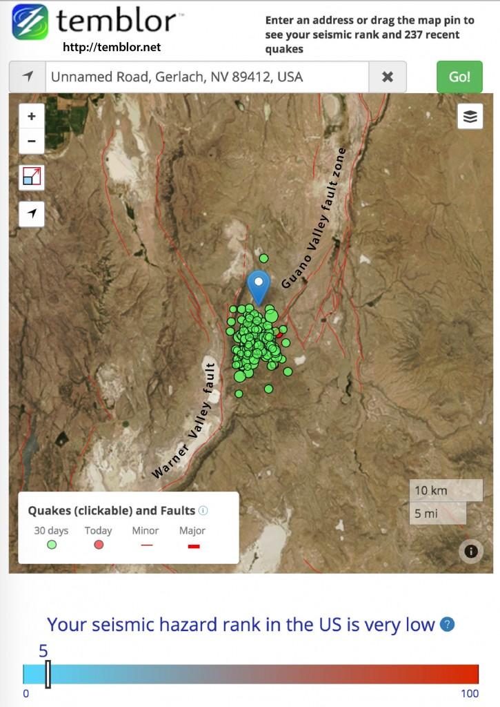 Earthquake swarm near Nevada Pregon border
