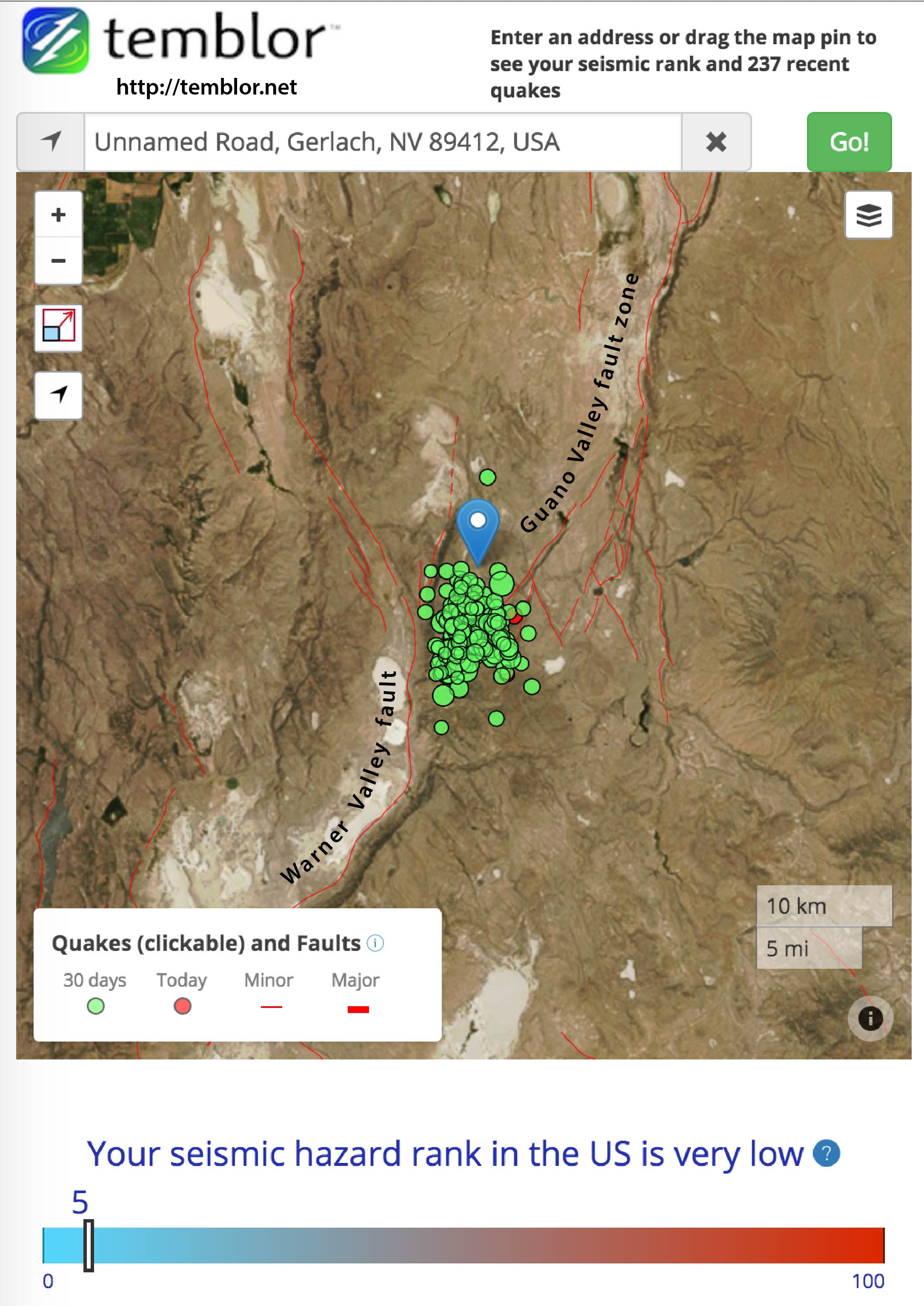 Earthquake swarm near Nevada Pregon border