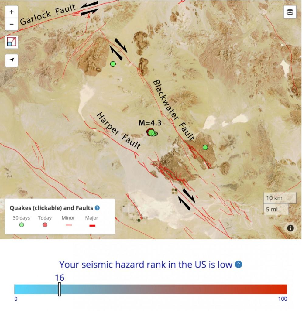 Southern California Magnitude Earthquake Hit Eastern Garlock Fault On Us Map