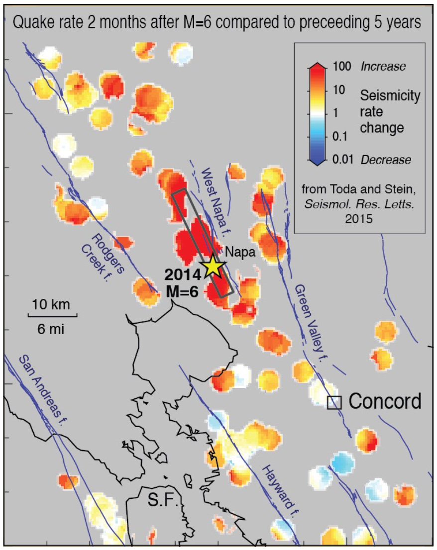 Seismicity rate increase expected near Concord, CA according to toda stein