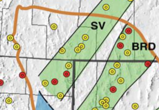 The Nevada swarm is taking place within the Surprise Valley (SV) geothermal belt, with groundwater temperatures in excess of 100°C (yellow dots) and 160°C (red dots). Map is from Faulds et al. (2011).