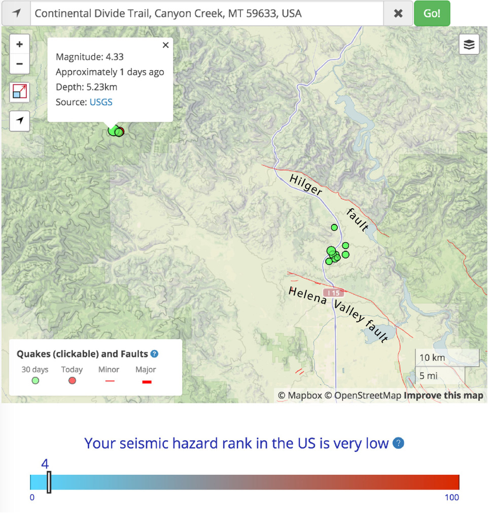 Temblor map showing the M=4.3 event and its aftershocks, with the Hilger and Helena Valley faults to the east. There have also been some M≤3 shocks most likely associated with the Hilger fault during the past month.