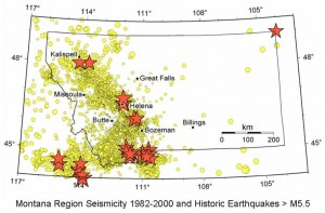 Map of the seismicity of Montana from 1982 to 2000, with M>2.5 shocks in yellow, and M>5.5 shocks as orange stars. Source: Montana Bureau of Mines and Geology
