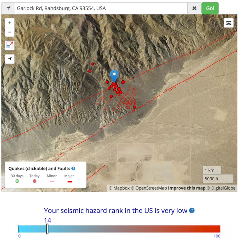Garlock fault lights up in a Magnitude 35