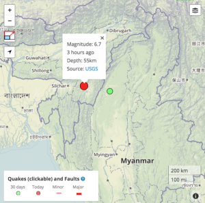 Epicenter of the M=6.7 Imphal India earthquake on 3 Jan 2015