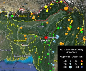Imphal India Earthquake (red star)
