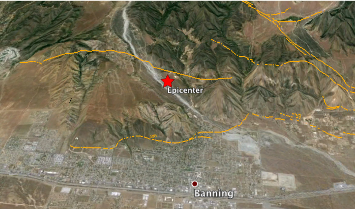 Google Earth image centered on today's M=4.5 epicenter. The orange lines are traces of the active San Gorgonio fault. The width of the photo is about 8 km (5 mi), and San Gorgonio Pass lies 5 km (3mi) to the east (right). Faults from the USGS and California Geological Survey.