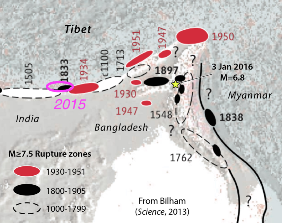 Map of historical earthquakes, Imphal-india-earthquake shown as yellow star