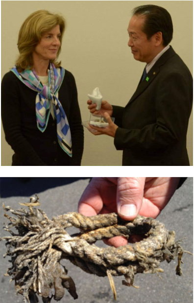 On 26 November 2014, Futoshi Toba, Mayor of Rikuzentakata, presented U.S. Ambassador Caroline Kennedy with the saved remnant of Kamome's stern line, which is now on display at the U.S. Embassy in Tokyo. Also in 2014, Kamome was installed in the National Tokyo Museum as part of a special exhibit on the 2011 tsunami and recovery.