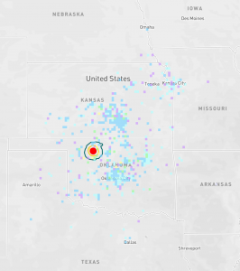 The quake was felt throughout almost all of Oklahoma and much of southern Kansas, although the shaking was light. Strongest shaking was reported by the USGS Did You Feel It? close to the epicenter, which lies midway between the towns of Woodward and Enid, but the epicenter was fortunately far from urban centers.