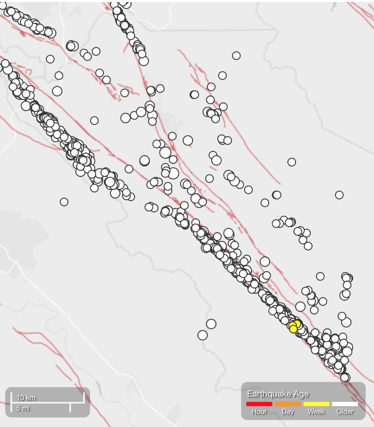 USGS ANSS catalog map of M≥2 earthquakes since 2000 in the vicinity of today's quake show the same alignments as seen in the past month.