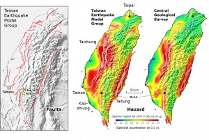 Comparison of the active fault map (left) and probabilistic hazard model (center) of Taiwan proposed by the Taiwan Earthquake Model Group, and that by the Central Geological Survey (right), with the site of today's M=6.4 earthquake marked.