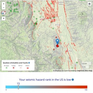 Temblor map of today's M=4.8 mainshock and several aftershocks. The northern end of the 100-km-long (60 mi) 1872 M=7.6 Owens Valley rupture extends through the 'g' of Big Pine.