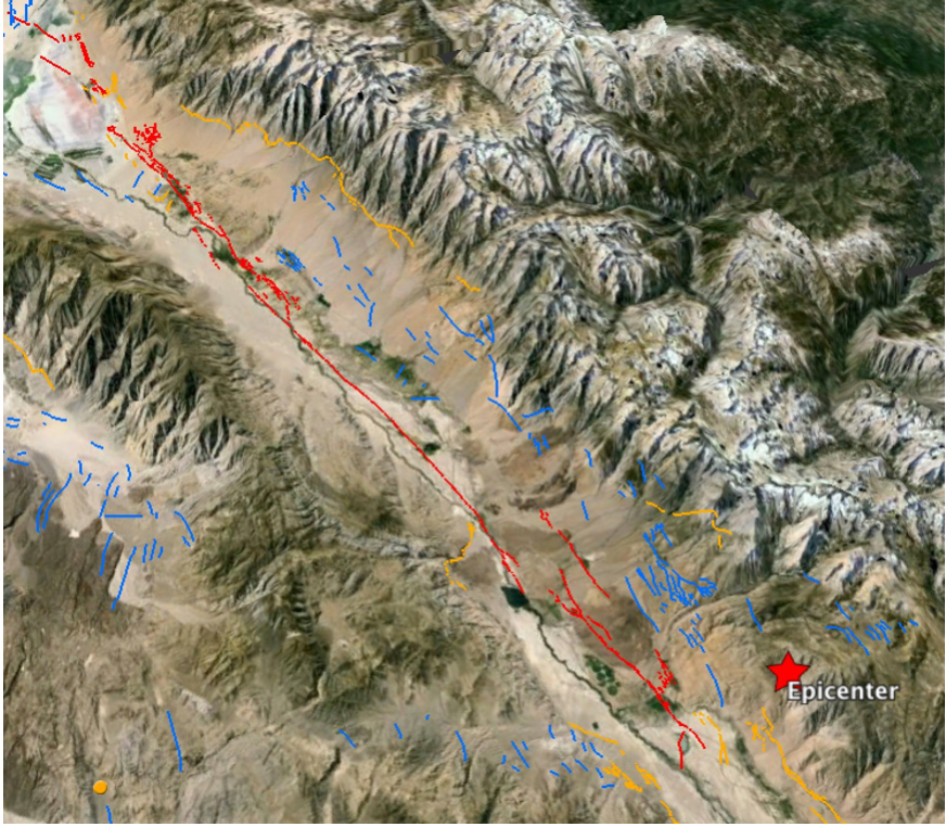 In this Google Earth image, North is oriented to the lower right. The diagonal is about 100 km (60 mi). The 1872 M=7.6 rupture is red, whereas the normal faults bounding the Sierra Nevada are yellow (if active in the past 20,000 yrs) and blue (if active only sometime during the past 2 million years).