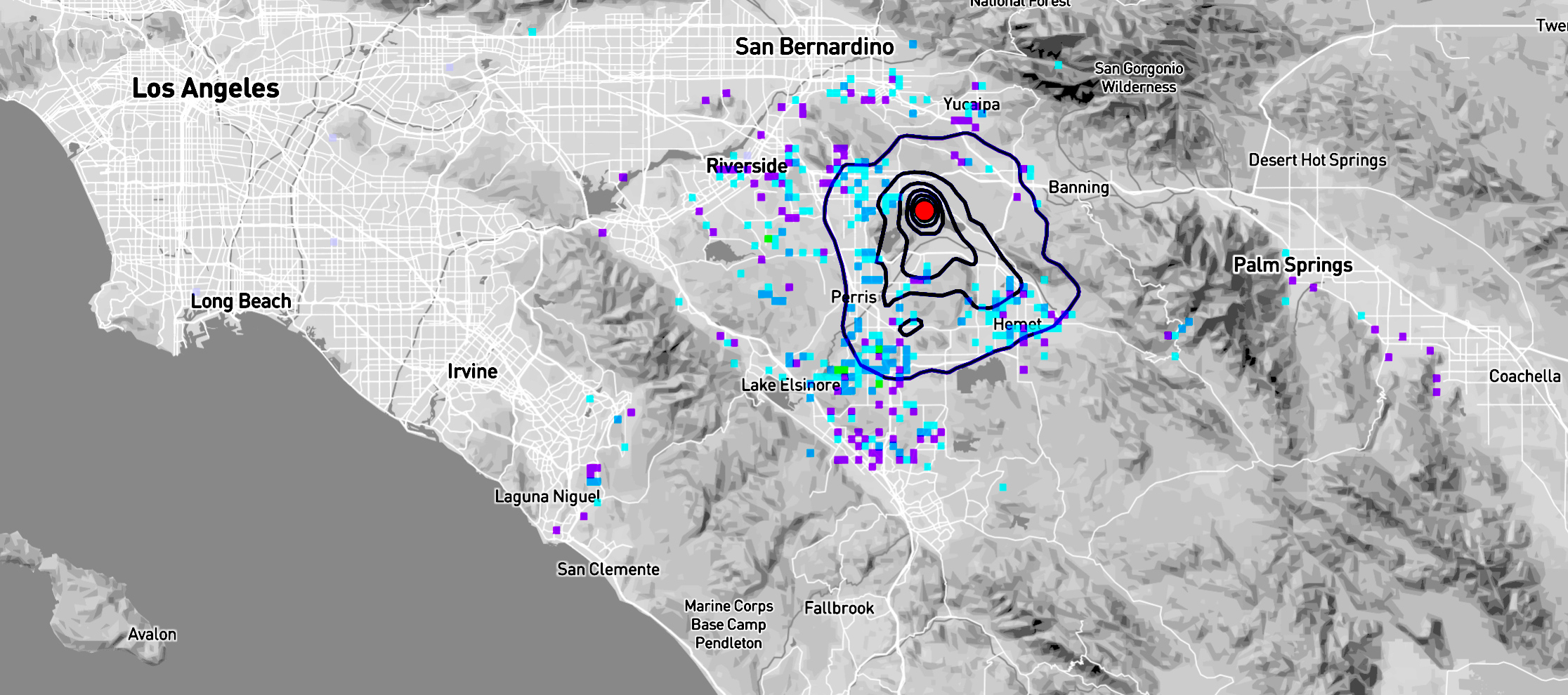 Magnitude 3.5 earthquake felt widely (blue-purple squares)