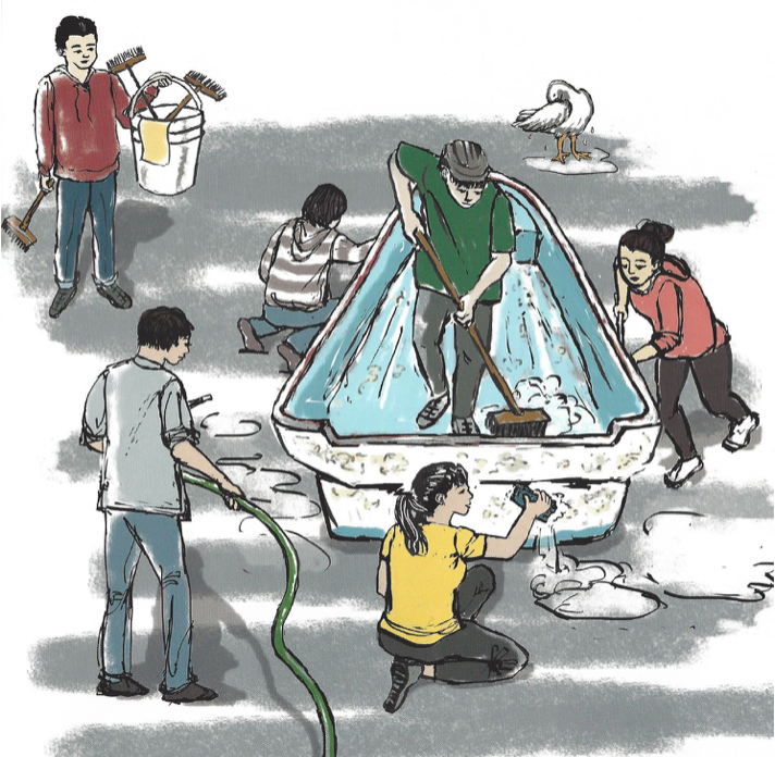 A painting of the Kamome tsunami boat's cleaning by Del Norte High School Students