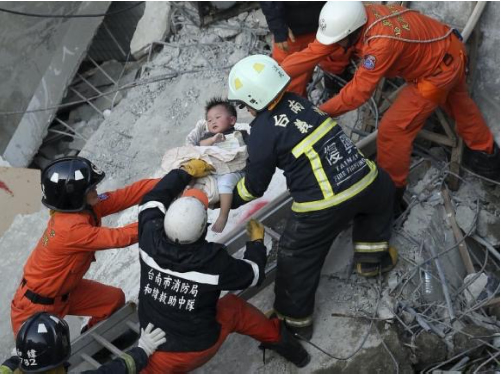 Infant rescued from a collapsed 17-story apartment building in Tainan on 6 Feb 2016 (Reuters) http://www.reuters.com/article/us-quake-taiwan-idUSKCN0VE2EO