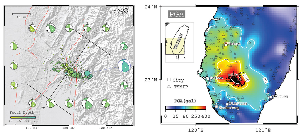 The 4 March 2010 M=6.4 Jiashian earthquake shows a location and rupture style similar to the 6 February 2016 quake (left). The distribution of shaking is also very similar (right). From Huang et al., (2011).
