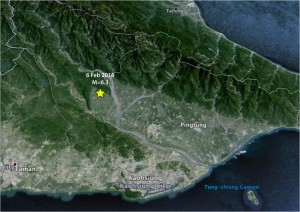 The Chaochou fault marks the razor-sharp boundary between the Central Ranges at the top of this oblique Google Earth image from the Pingtung Plain in the center. Because the fault is almost 100 km (60 mi) long, it is likely capable of a M=7.2 earthquake. The image is oriented with North to the upper left. The city of Tainan is in the lower left. The fault was elucidated in the landmark study of J. Bruce H. Shyu, Kerry Sieh, Yue-Gau Chen, and Char-Shine Liu, 'Neotectonic architecture of Taiwan and its implications for future large earthquakes,' J. Geophys. Res., doi:10.1029/2004JB003251 (2005).