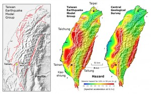 Comparison of the active fault map (left) and probabilistic hazard model (center) of Taiwan proposed by the Taiwan Earthquake Model Group, and that by the Central Geological Survey (right), with the site of the M=6.3 earthquake marked.