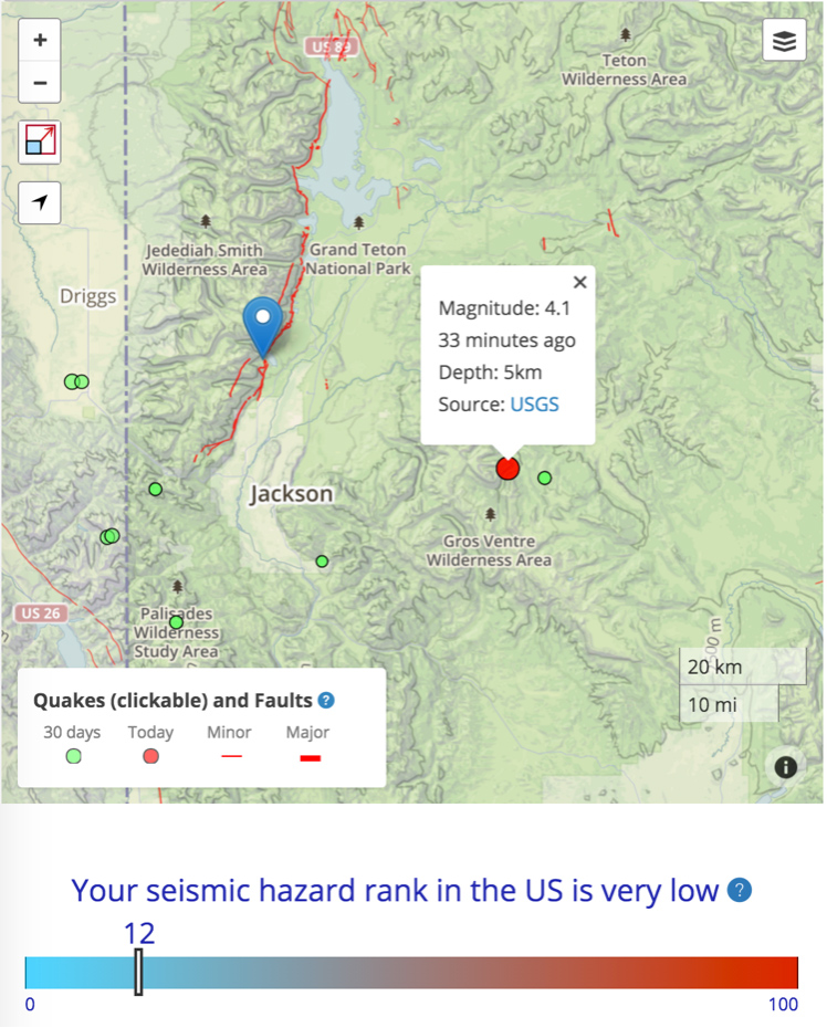 The 26 February 2016 M=4.0 quake lies in a region of low hazard—about one-eighth of that in the southern San Francisco Bay area, but still much larger than about 85% of the United States, and close to the beautiful Teton fault, which lifted up the Grand Tetons, and formed the meadows and Jenny Lake on its downthrown side.