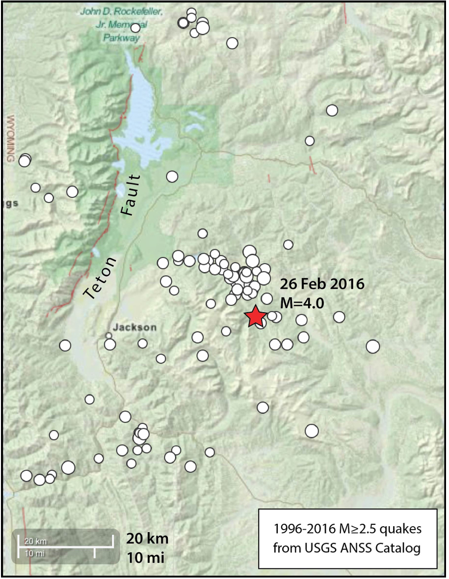 Today's quake struck within a nest of seismicity that has persisted for the past 20 years—near but definitely not on the Teton fault. Source: USGS
