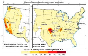 Result of the probabilistic seismic hazard assessment of Peterson et al (2016) shows that the chance of damage in Oklahoma exceeds that of California, Seattle in the Pacific Northwest, and New Madrid in the central U.S