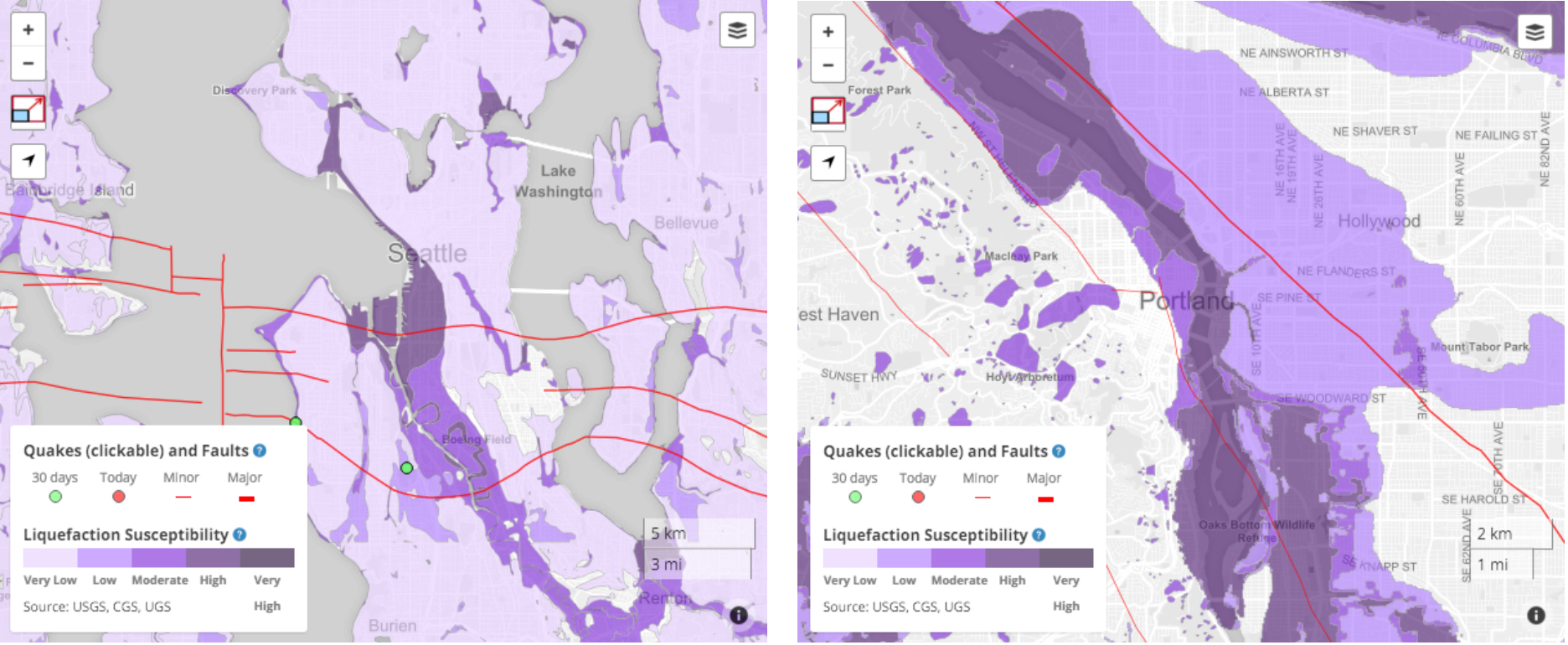 Temblor recently added liquefaction susceptibility maps for all of Oregon and Washington. These maps illustrate how large portions of both cities are susceptible to liquefaction. More Temblor maps of additional areas will be going up shortly.