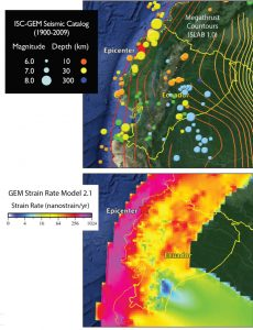 The ISC-GEM seismic catalog shows that the M=7.8 epicenter is surrounded by large quakes over the past century, whereas in southern Ecuador, there have been no great quakes (top). Nevertheless, the strain rate is high along the entire Ecuador coastline (bottom). This part of the boundary could slip aseismically, or in less frequent but larger earthquakes. These invaluable datasets were produced by the GEM Foundation, which is building a seismic risk model for the world, and is currently working on its Ecuador model together with South American scientists.