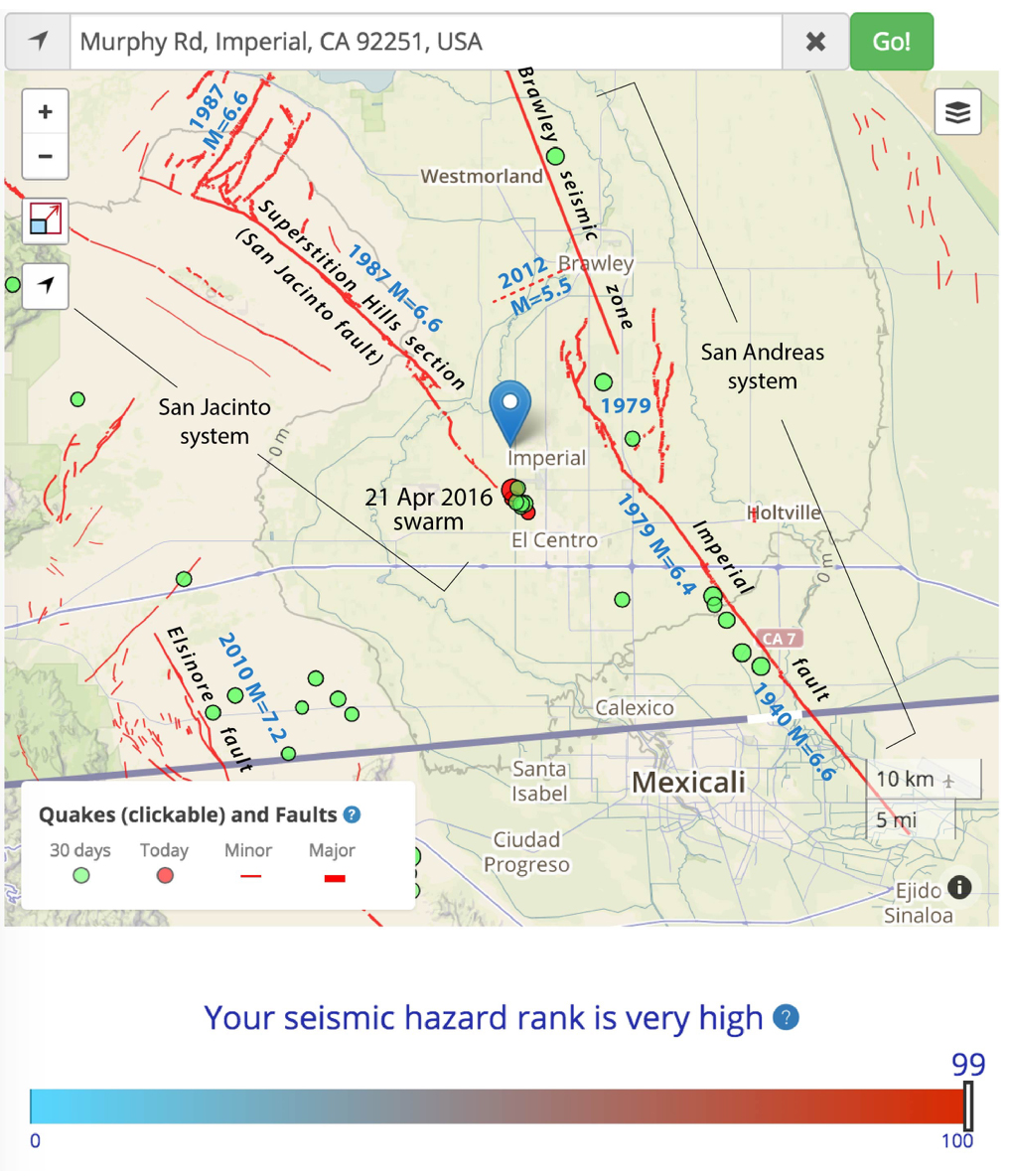 The great San Andreas and San Jacinto fault systems somehow merge in the deep, sediment-filled Salton trough. The size and year of historical earthquake ruptures are shown in blue.