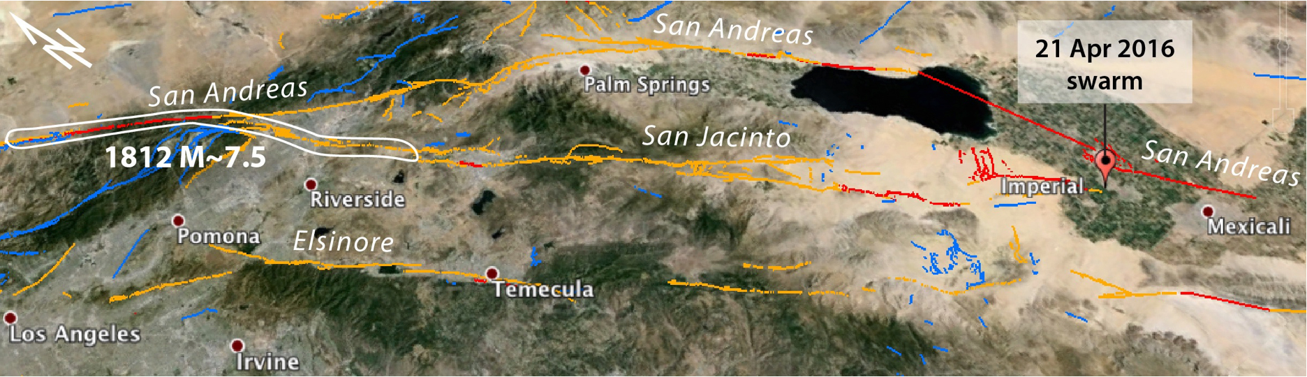 In this Google Earth image, the sites where the San Andreas and San Jacinto systems diverge (north of Riverside) and converge (south of Imperial) are seen. Julian Lozos' interpretation of the 1812 rupture is also shown. This event collapsed or highly damaged Missions San Juan Capistrano and San Gabriel, and caused minor damage at Missions San Fernando and San Buenaventura. The image is 325 km (175 mi) across.