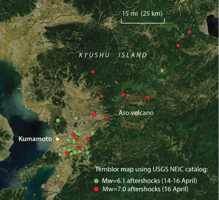 Aftershock map (made without using the local JMA network so inaccurate, at 5 pm PDT on 16 Apr) shows the much larger area of the M=7.0 aftershocks, which extend well to the northeast