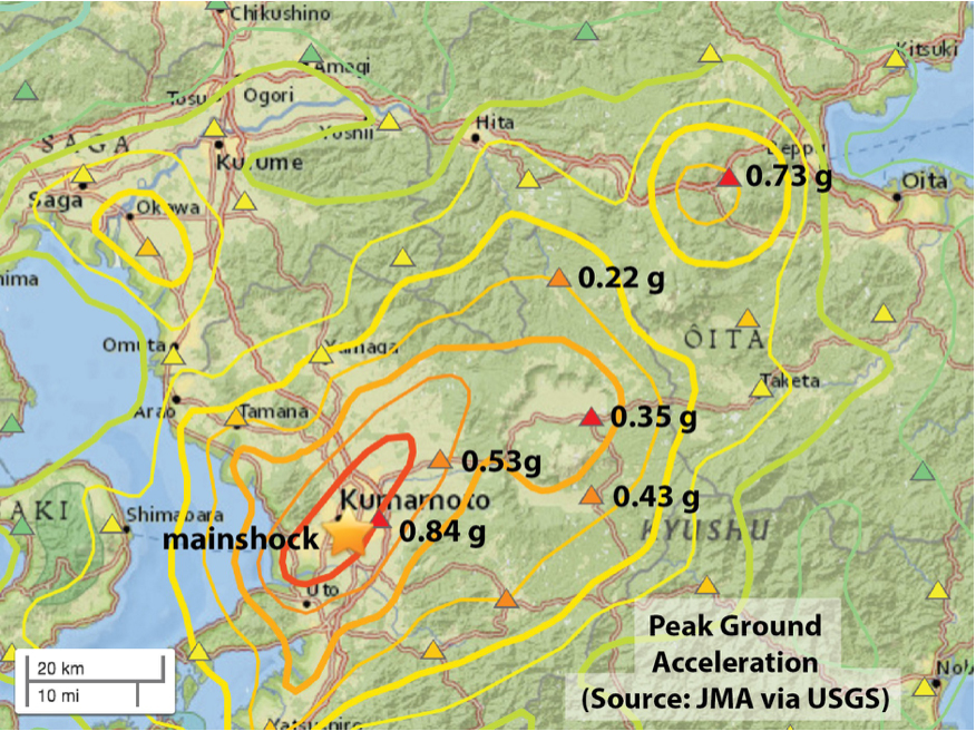 Preliminary map of observed (triangles) and inferred (contours) shaking from the Mw=7.0 event, from the USGS. The contours blend a model and data. The shaking appears to be much stronger to the northeast, suggesting how the 40 km long fault ruptured (or, unzipped).