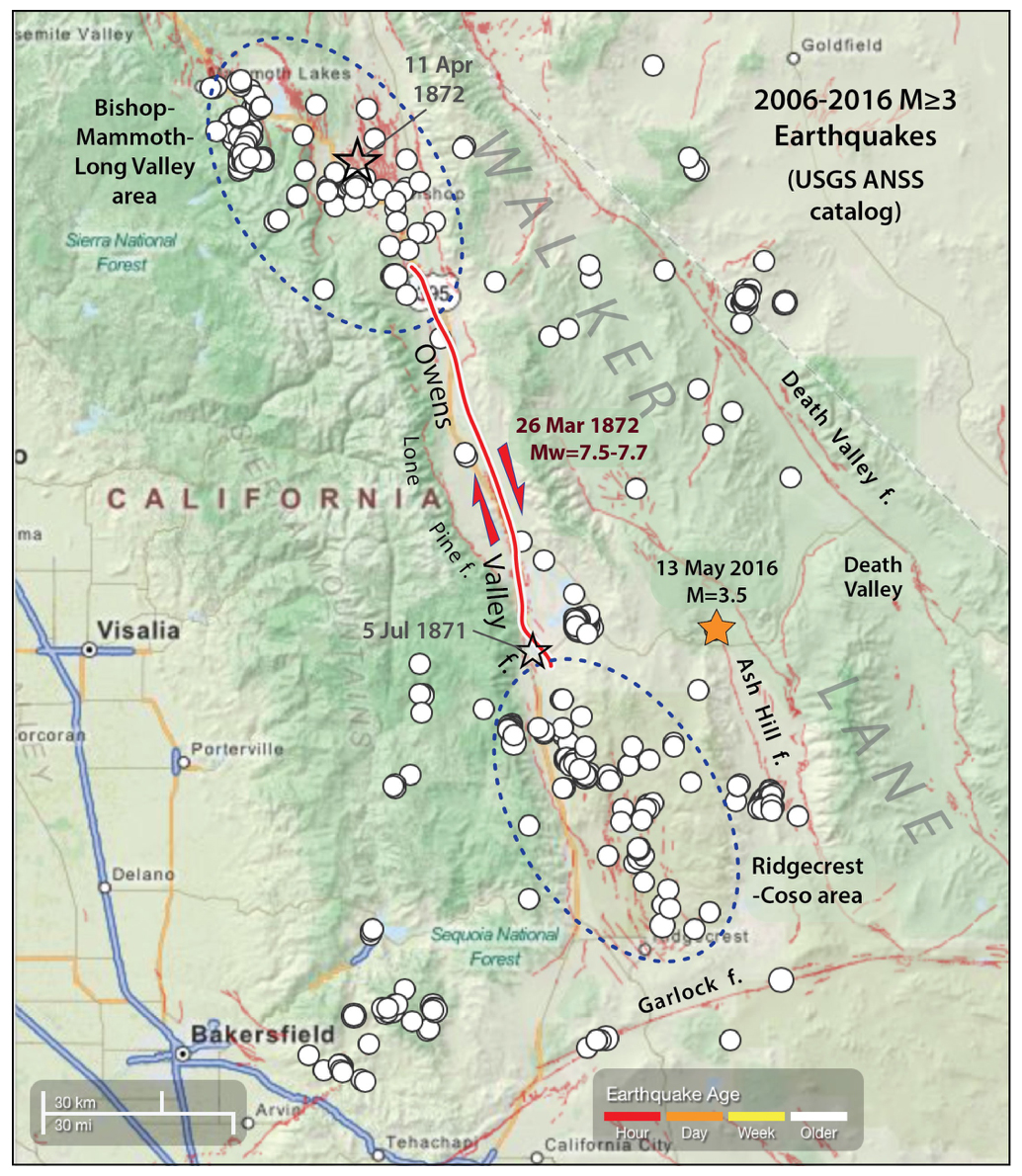 A decade of seismicity reveals the strangely symmetrical distribution of earthquake clusters located beyond the ends of the 1872 Mw~7.6 earthquake. Both clusters enclose mixtures of hot springs, and extensional ('normal') faults and strike-slip faults, as well as sporadic eruptions in the past 12,000 or so years. Because of the hot springs, both have geothermal power plants. Several M>6 shocks struck in the 1980's in the northern cluster, and several M~5 quakes struck in the 1990's in the southern cluster.
