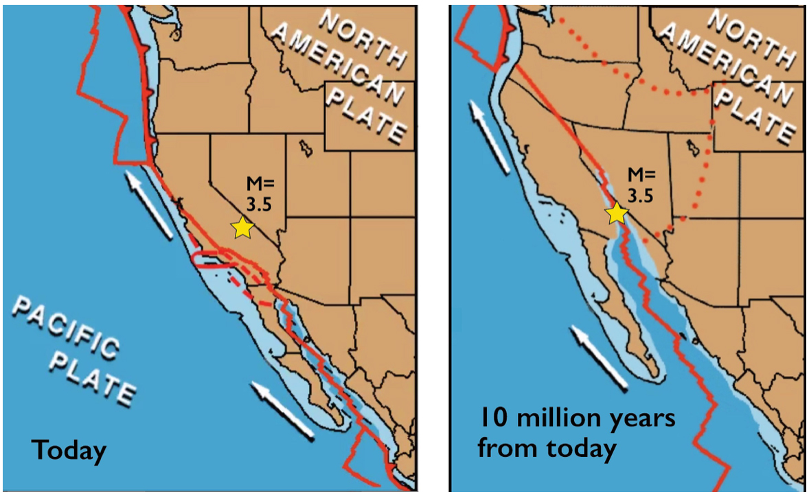Here are two frames from an animation by Tanya Atwater, Professor Emeritus at U.C. Santa Barbara. The 13 May M=3.5 quake is one small step along the road to a vast transformation of the Pacific-North America plate boundary. Eventually, all of California will be head north toward Alaska, rather than only today's coastal sliver of liberals. See https://youtu.be/9F8AcDJq2QU