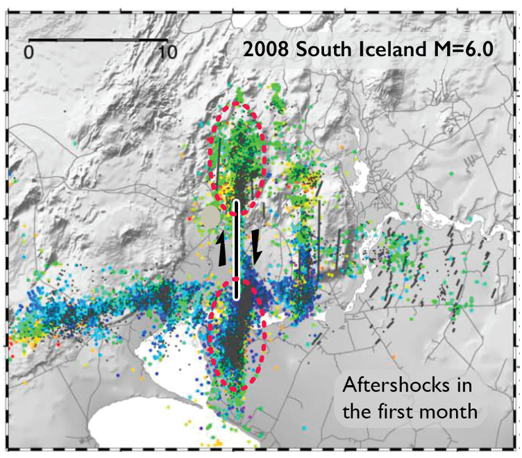 The figure is modified from Brandsdóttir et al. (2010), based on the fault inferred by Decriem et al. (2010). The aftershocks do indeed look like a small-scale version of contemporary seismicity surrounding the 1872 quake. The red ellipses enclose intense aftershock activity.
