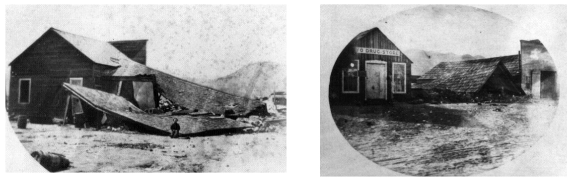 Owen's Valley and Lone Pine buildings collapsed in 1872, courtesy of Laws Railroad Museum.