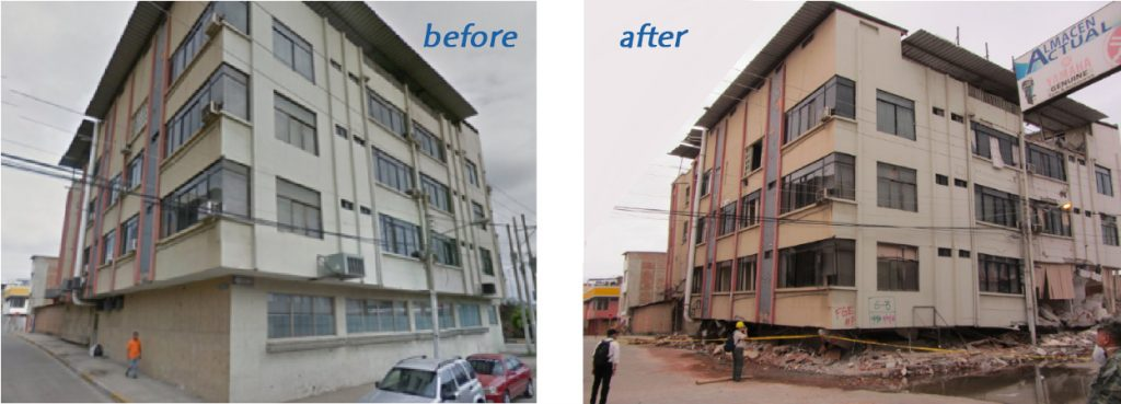 Notice any difference? This building in Manta suffered a complete collapse of its first floor. Miraculously, the upper floors did not pancake, as is often the case in 'soft first story' collapses like this one. Source: EERI, Mei Kuen Liu, Google Street View