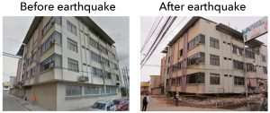 What's the difference? This building in Manta suffered a complete collapse of its first floor. Miraculously, the upper floors did not pancake, as is often the case in 'soft first story' collapses like this one. Source: EERI, Mei Kuen Liu, Google Street View