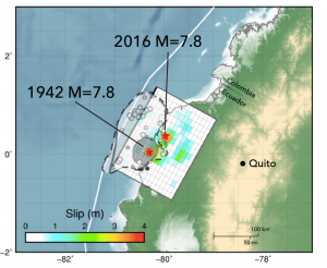 The best available data indicates that the 1942 and 12016 earthquakes ruptured nearly the same area, with the region of greatest slip slightly to the north in the 2016 event. However, the best available data is not necessarily good data, so it's hard to tell the extent to which these events overlapped or not. The small circles are 1942 aftershocks from Jennifer Swenson and Susan Beck (1996).They are very widely distributed, some of which could be a mirage due to location uncertainty.