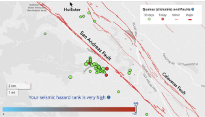 hollister earthquake swarm in high hazard