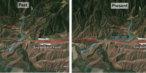 stream shifted over 1000 meters by san andreas fault