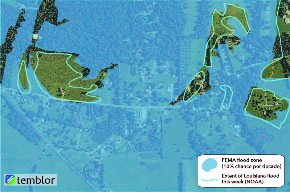 Flood map: FEMA flood zone vs. Louisiana flooding.
