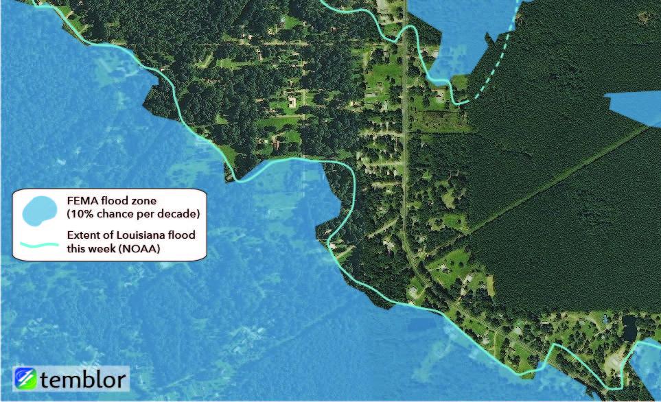 Flood map: FEMA flood zone vs. Louisiana flooding.