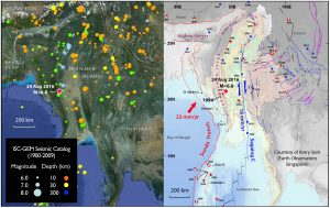 The ISC-GEM seismic catalog (left) and regional tectonic map (right) of the Burma region, with today's earthquake labeled. The map on the right is from Kerry Sieh (Earth Observatory Singapore), with key historical earthquakes marked.