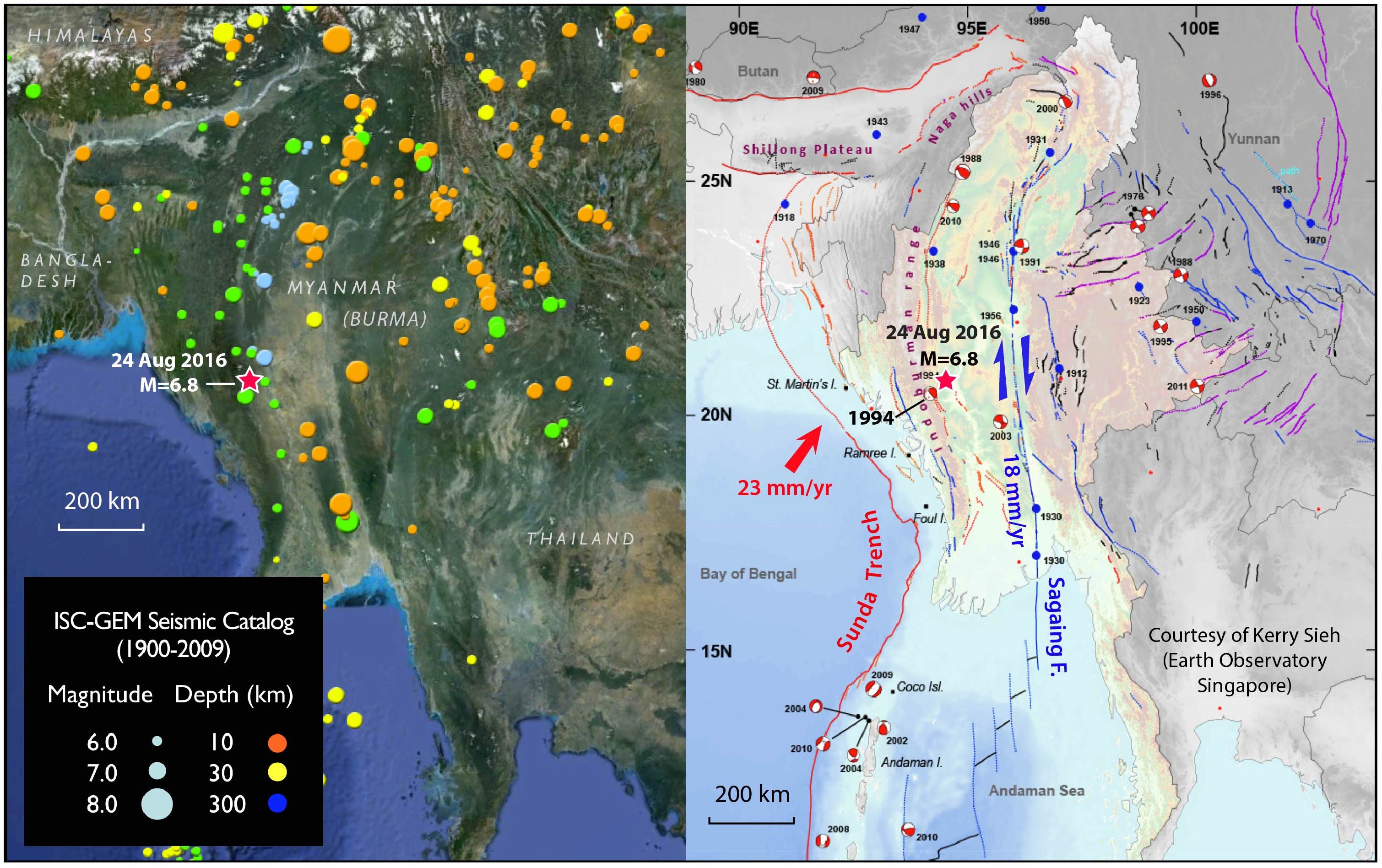 The ISC-GEM seismic catalog (left) and regional tectonic map (right) of the Burma region, with today's earthquake labeled