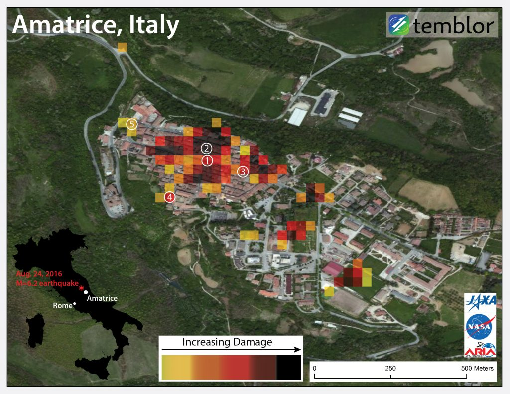 Damage map of the Italy earthquake in Amatrice.