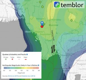 Temblor map of Burma with today's earthquake marked. The earthquakes shown are from the EMS Catalog, and the colors come from the Global Earthquake Activity Rate (GEAR) model of Bird et al. (2015). This model is now shown in the Temblor web app.