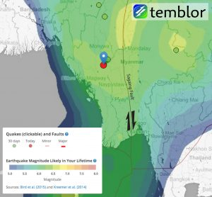 Temblor map of Burma with today's earthquake marked. The earthquakes shown are from the EMS Catalog, and the colors come from the Global Earthquake Activity Rate (GEAR) model of Bird et al. (2015). This model is now shown in the Temblor web app