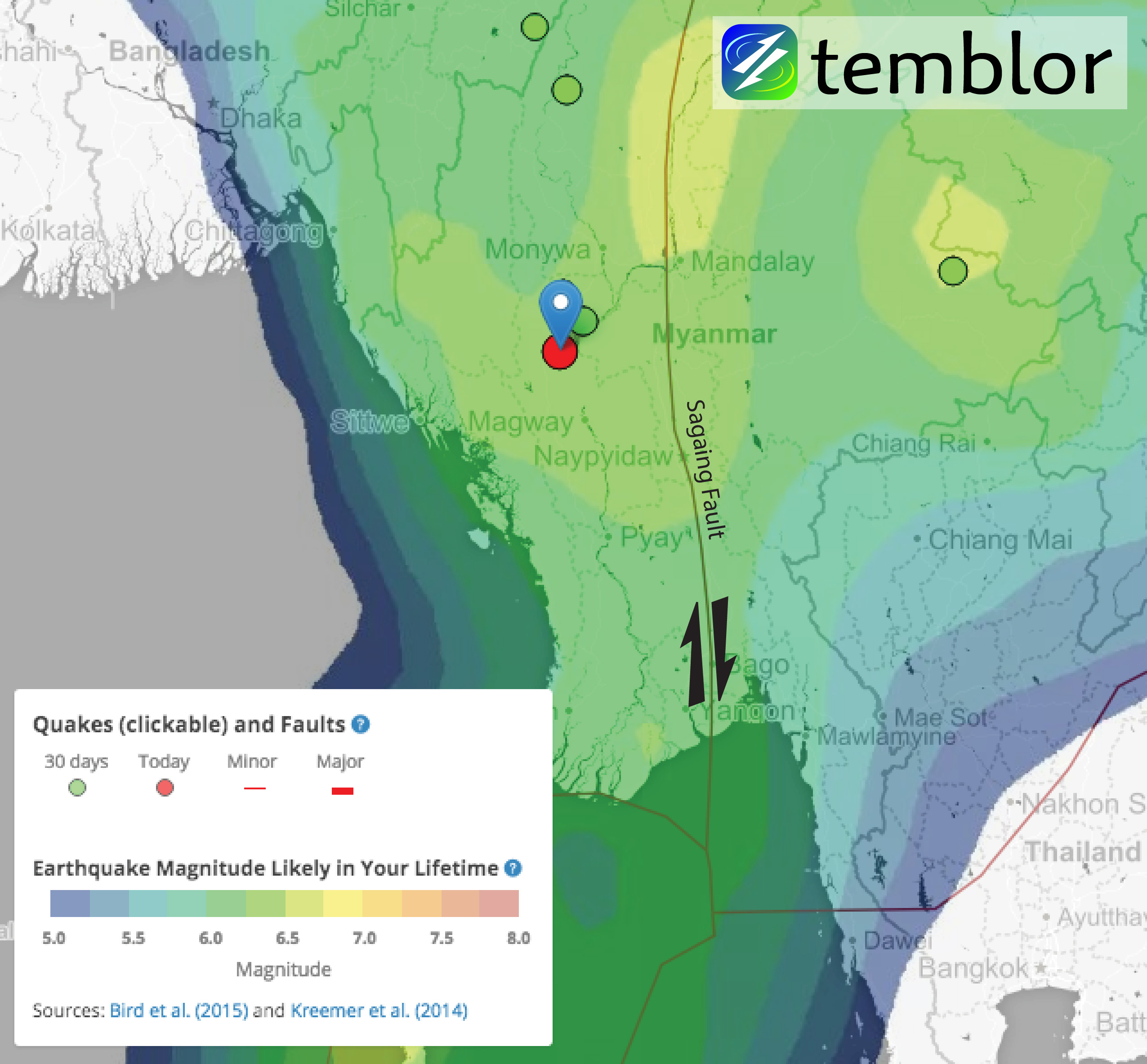 Temblor map of Burma with today's earthquake marked